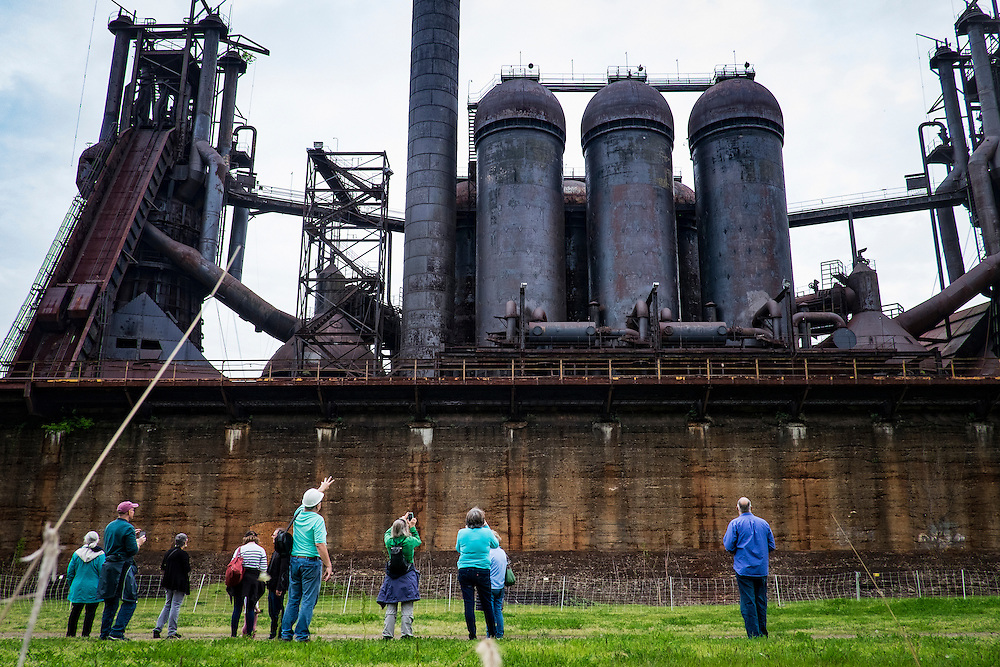A retired steel worker gives a tour at his former work site at the Carrie Furnaces in Rankin, Pennsylvania, USA on April 30, 2016.<br /> <br /> The Carrie Furnaces were built in 1881 as part of U.S. Steel's Homestead Works, a sprawling 400-acre complex that spanned both sides of the Monogahela river. They produced up to 1,250 tons of steel a day until 1978 when they were closed. <br /> <br /> They are an extremely rare example of pre-WWII ironmaking technology. <br /> <br /> The furnaces were designated as a national historic landmark in 2006 and preservation efforts are underway.
