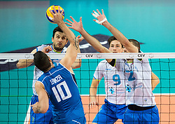 17-10-2015 BUL: Volleyball European Championship Slovenie - Italie, Sofia<br /> Semifinal in Arena Armeec Sofia / Filippo Lanza of Italy vs Mija Gasparini #6 of Slovenia and Alen Pajenk #2 of Slovenia<br /> Photo: Vid Ponikvar / RHF<br /> +++USE NETHERLANDS ONLY+++