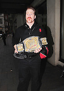 05.AUGUST.2010 - LONDON<br /> <br /> WWE CHAMPION SHEAMUS O'SHAUNESSY LEAVING HIS LONDON HOTEL CARRYING HIS WORLD TITLE BELT.<br /> <br /> BYLINE: EDBIMAGEARCHIVE.COM<br /> <br /> *THIS IMAGE IS STRICTLY FOR UK NEWSPAPERS AND MAGAZINES ONLY*<br /> *FOR WORLD WIDE SALES AND WEB USE PLEASE CONTACT EDBIMAGEARCHIVE - 0208 954 5968*