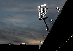 A floodlight at Vicarage Road under a sunset - Mandatory byline: Robbie Stephenson/JMP - 07966 386802 - 28/12/2015 - FOOTBALL - Vicarage Road - Watford, England - Watford v Tottenham Hotspur - Barclays Premier League