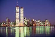Twin Towers of the World Trade Center, designed by Minoru Yamasaki, Hudson River, Manhattan, New York City, New York, USA, Twilight