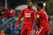 Jobi McAnuff of Leyton Orient (7) is all smiles, after he scores his second goal and celebrates to make the score 0-3 during the Vanarama National League match between Harrogate Town and Leyton Orient at Wetherby Road, Harrogate, United Kingdom on 22 September 2018.
