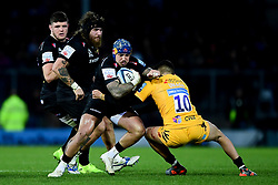 Jack Nowell of Exeter Chiefs is tackled by Jacob Umaga of Wasps - Mandatory by-line: Ryan Hiscott/JMP - 30/11/2019 - RUGBY - Sandy Park - Exeter, England - Exeter Chiefs v Wasps - Gallagher Premiership Rugby