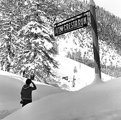 The sign on the main road out of St.Moritz which signposts the start of The Cresta Run, St.Moritz, Switzerland in January 1960.