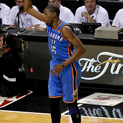 Jun 19, 2012; Miami, FL, USA; Oklahoma City Thunder small forward Kevin Durant (35) against the Miami Heat during the third quarter in game four in the 2012 NBA Finals at the American Airlines Arena. Mandatory Credit: Derick E. Hingle-US PRESSWIRE