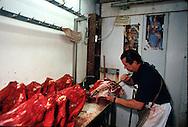 France. Paris area. Rungis  Whole sale food market , meat market  / marche de gros, boucherie abats, porc boucher
