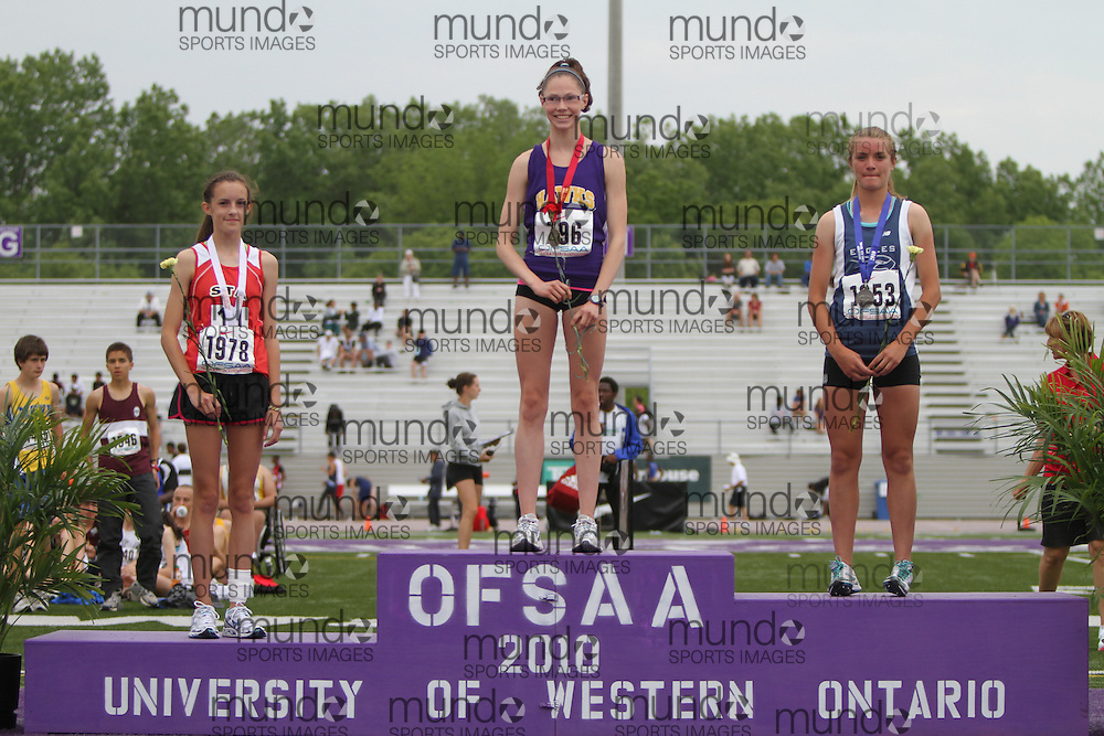 (London, Ontario}---04 June 2010) \796/, /1978/, /1853\ the medal ceremony at the 2010 OFSAA Ontario High School Track and Field Championships in London, Ontario,  June 04, 2010. Photograph copyright Laura Barclay / Mundo Sport Images, 2010.