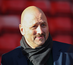 Mark Clemmit from The Football League show discusses Referee Iain Williamson's decision to call the match off - Photo mandatory by-line: Robin White/JMP - Tel: Mobile: 07966 386802 11/01/2014 - SPORT - FOOTBALL - The Valley - Charlton - Charlton Athletic v Barnsley - Sky Bet Championship
