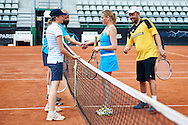 Warsaw, Poland - 2016 June 04: (L-R) Katarzyna Blaszczyk and Tadeusz Burski and Monika Niewinowska and Maciej Soldan during 55. Tennis Polish Championships of Journalists at Legia Tennis Club June 04, 2016 in Warsaw, Poland.<br /> <br /> Adam Nurkiewicz declares that he has no rights to the image of people at the photographs of his authorship.<br /> <br /> Picture also available in RAW (NEF) or TIFF format on special request.<br /> <br /> Any editorial, commercial or promotional use requires written permission from the author of image.<br /> <br /> Mandatory credit:<br /> Photo by © Adam Nurkiewicz