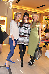 Left to right, BODIL BLAIN, LISA BILTON and CALGARY AVANSINO at a fun filled tea party hosted by Roger Vivier to view their Jeune Fille collection of shoes in aid of Mothers4Children held at Roger Vivier, Sloane Street, London on 27th March 2012.