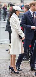 LONDON - UK - 8th March 2018. Members of the Royal Family led by HM Queen Elizabeth II gather at Westminster Abbey in London for the annual Commonwealth Day Service.<br /> The Queen was joined by; HRH The Prince of Wales with HRH The Duchess of Cornwall; The Duke and Duchess of Cambridge, Prince Harry with Megan Markle, Princess Anne, Prince Andrew, The Countess of Wessex.<br />  Photograph by Ian Jones -