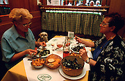 Brussels, Belgium. A little dog watching his mistress eating Moules frites at Chez Leon.