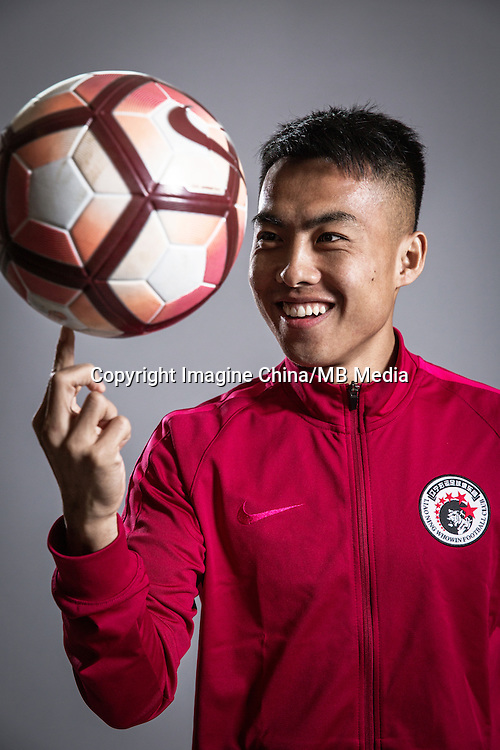 Portrait of Chinese soccer player Wang Jiao of Liaoning Whowin F.C. for the 2017 Chinese Football Association Super League, in Foshan city, south China's Guangdong province, 24 January 2017.