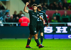 Sergio Aguero of Manchester City celebrates after scoring his sides second goal - Mandatory by-line: Robbie Stephenson/JMP - 23/01/2018 - FOOTBALL - Ashton Gate Stadium - Bristol, England - Bristol City v Manchester City - Carabao Cup Semi Final second leg