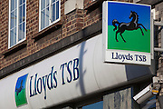 The Lloyds TSB sign, outside their branch at Stamford Hill, London.
