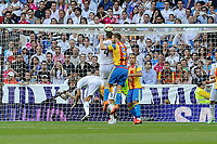 Real Madrid´s Sergio Ramos and Valencia´s Shkodran Mustafi during 2014-15 La Liga match between Real Madrid and Valencia at Santiago Bernabeu stadium in Madrid, Spain. May 09, 2015. (ALTERPHOTOS/Luis Fernandez)