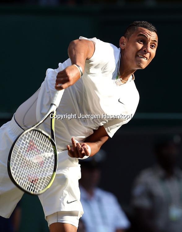 Wimbledon Championships 2014, AELTC,London,<br /> ITF Grand Slam Tennis Tournament,<br /> Nick Kyrgios (AUS),Aktion,Aufschlag,Einzelbild,Halbkoerper,Hochformat,