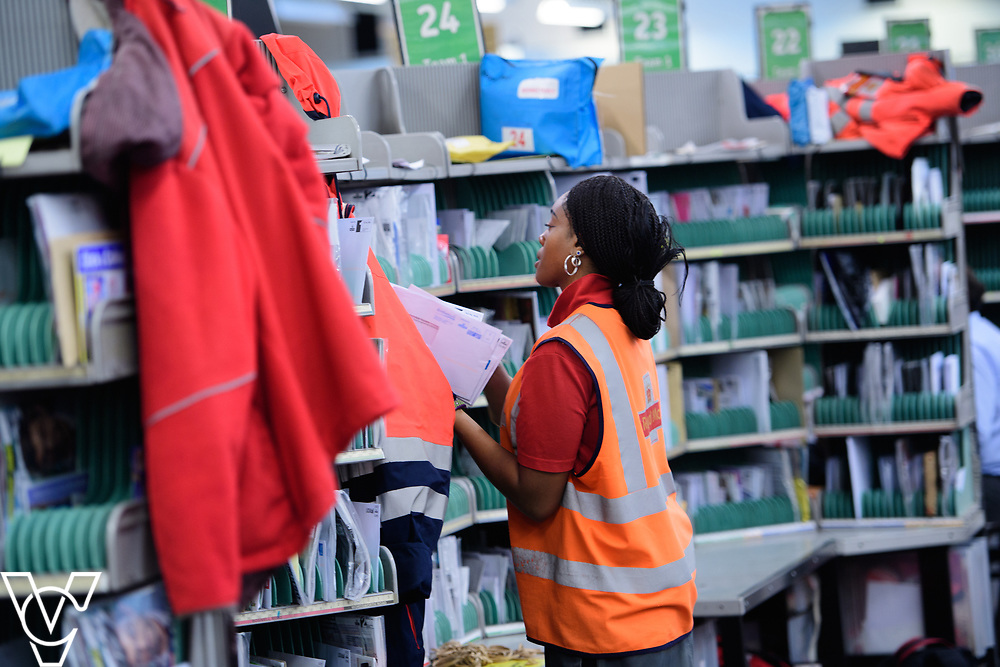 Royal Mail Rugby mail processing unit - stock photography.  Jodyne Henry sorting mail.<br /> <br /> Picture: Chris Vaughan Photography<br /> Date: June 6, 2017