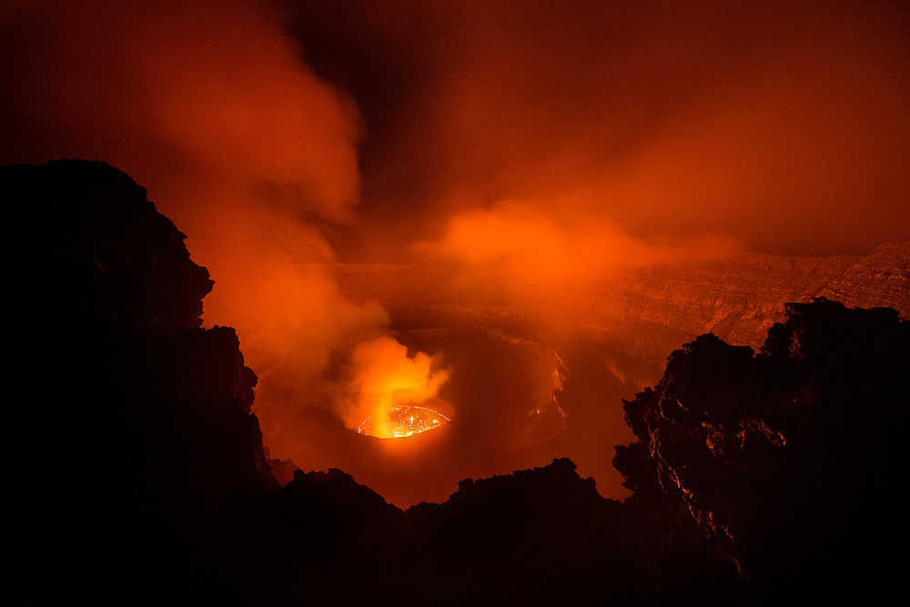 Lava lake on top of Mount Nyiragongo, Virunga National Park, Congo (DRC).