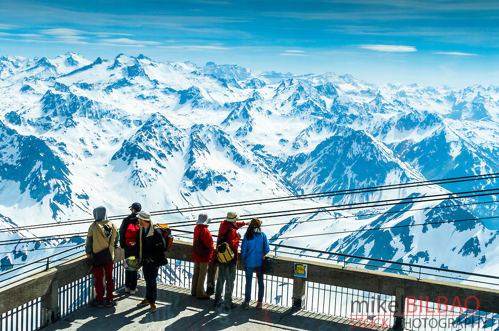 Pic du Midi Observatory and snow-covered mountains. Pic du Midi de Bigorre.<br /> Hautes-Pyrenees department, Midi-Pyrenees region, France, Europe.
