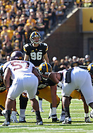 September 29 2012: Iowa Hawkeyes kicker Mike Meyer (96) lines up a 44 yard field goal kick during the first quarter of the NCAA football game between the Minnesota Golden Gophers and the Iowa Hawkeyes at Kinnick Stadium in Iowa City, Iowa on Saturday September 29, 2012. Iowa defeated Minnesota 31-13 to claim the Floyd of Rosedale Trophy.