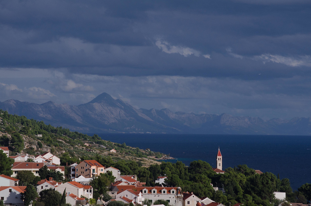 View of the mountains south from guesthouse in the hills above Bol Town, Brač Island, Croatia