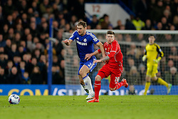 Branislav Ivanovic of Chelsea vb Alberto Moreno of Liverpool - Photo mandatory by-line: Rogan Thomson/JMP - 07966 386802 - 27/01/2015 - SPORT - FOOTBALL - London, England - Stamford Bridge - Chelsea v Liverpool - Capital One Cup Semi-Final Second Leg.