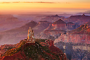 Mount Hayden at sunrise. As viewed from Point Imperial on the North Rim of Grand Canyon National Park.