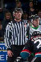 KELOWNA, CANADA - NOVEMBER 12: Linesman, Tim Plamondon stands on the ice as the Kelowna Rockets play the Prince Albert Raiders on November 12, 2016 at Prospera Place in Kelowna, British Columbia, Canada.  (Photo by Marissa Baecker/Shoot the Breeze)  *** Local Caption ***