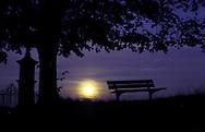 DEU, Germany, Bergisches Land region, moonrise.....DEU, Deutschland, Bergisches Land, Mondaufgang...