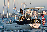 Zac putting the sail away as he arrives in Cape Town, SA
