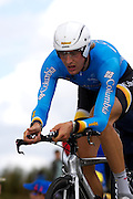 France - Tuesday, Jul 08 2008: Marcus Burghardt (Ger) Team Columbia finished in 162nd place on stage 4, 4'40'' down on the winner Stefan Schumacher. The stage was a 29.5 km time trial starting and ending in Cholet.    (Photo by Peter Horrell / http://www.peterhorrell.com)