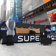 Super Bowl events construction taking place in Times Square in preparation for Super Bowl week in New York. Times Square, New York, USA. 27th January 2014. Photo Tim Clayton