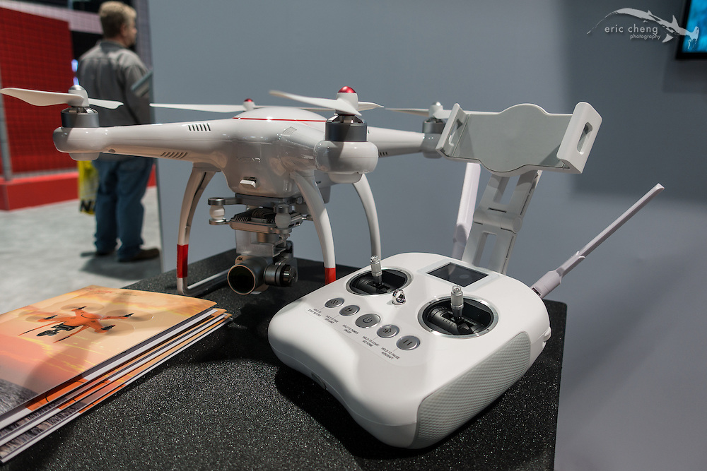 "The  Autel X-star: the most shameless knockoff of a DJI Phantom I've seen yet. The woman who came to talk to us told us that this one works with ""the wireless,"" and the upgraded one works with ""like, apps on your phone, and not wireless."" CES 2016, Las Vegas."