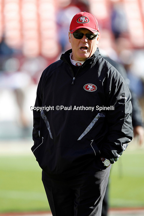 San Francisco 49ers special teams coordinator Kurt Schottenheimer calls out during pregame warmups during the NFL week 11 football game against the Tampa Bay Buccaneers on Sunday, November 21, 2010 in San Francisco, California. The Bucs won the game 21-0. (©Paul Anthony Spinelli)