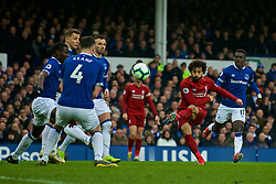 LIVERPOOL, ENGLAND - Sunday, March 3, 2019: Liverpool's Mohamed Salah shoots during the FA Premier League match between Everton FC and Liverpool FC, the 233rd Merseyside Derby, at Goodison Park. (Pic by Laura Malkin/Propaganda)