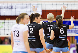 Players of Calcit during match between OK Nova KBM Branik and OK Calcit Volleyball in Finals of Slovenian Women Volleyball Cup 2013/14 on December 27, 2013 in Hoce, Slovenia.  Calcit Volleyball won 3-1 and became Slovenian Cup Champion 2013/14. Photo by Vid Ponikvar / Sportida