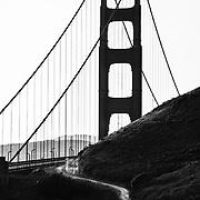 A silhouette of the Golden Gate Bridge in San Francisco, California.