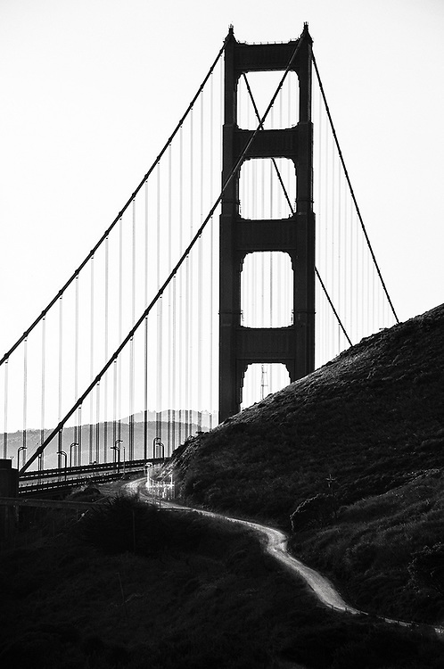 A silhouette of the Golden Gate Bridge in San Francisco, California.