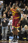 Dec. 2, 2010; Cleveland, OH, USA;  Cleveland Cavaliers power forward J.J. Hickson (21) celebrates after a dunk during the first quarter of the game against the Miami Heat at Quicken Loans Arena. Mandatory Credit: Jason Miller-US PRESSWIRE