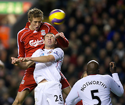 LIVERPOOL, ENGLAND - Saturday, February 2, 2008: Liverpool's Peter Crouch scores the opening goal against Sunderland during the Premiership match at Anfield. (Photo by David Rawcliffe/Propaganda)