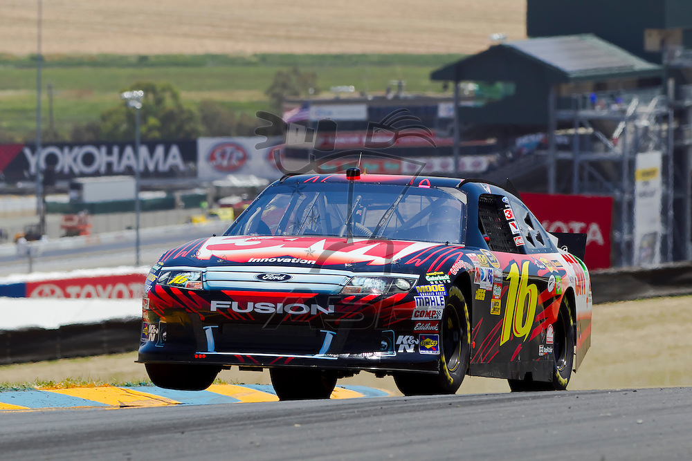Sonoma, CA - June 24, 2011:  Greg Biffle (16) brings his race car through the turns during a practice session for the Toyota/Save Mart 350 race at the Infineon Raceway in Sonoma, CA.