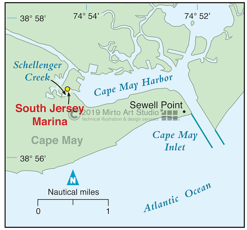 Vector map of Cape May, New Jersey marina