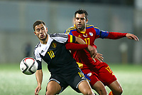 Eden Hazard of Belgium duels for the ball with Victor Moreira of Andorra during the UEFA European Championship 2016 qualifying Group B football match between Andorra and Belgium on October 10, 2015 at The Estadi Nacional in Andorra la Vella, Andorra. <br /> Photo Manuel Blondeau/AOP Press/DPPI