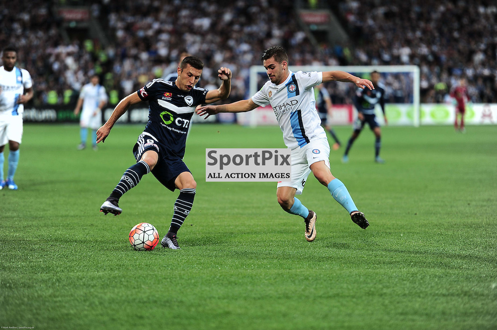 Daniel Georgievski of Melbourne Victory, Ben Garuccio of Melbourne City - Hyundai A-League, 19th December 2015, RD11 match between Melbourne City FC v Melbourne Victory FC at Aami Park in a 2:1 win to City in front of a 23,000+ crowd. Melbourne Australia. © Mark Avellino | SportPix.org.uk