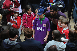 Bristol City's Jay Emmanuel-Thomas has his photo taken with fans - Photo mandatory by-line: Dougie Allward/JMP - Mobile: 07966 386802 - 11/03/2015 - SPORT - Football - Bristol - Cabot Circus Shopping Centre - Johnstone's Paint Trophy