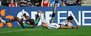 Twickenham, GREAT BRITAIN, Bristol's, David LEMI, evades Ugo MONYE, tackle to score a late second half try, during the Guinness Premiership match,  Harlequins vs Bristol Rugby, at The Stoop Stadium, Surrey on Sat 13.09.2008. [Photo, Peter Spurrier/Intersport-images]