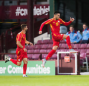 FYR Macedonia's Kire Markoski celebrates after scoring the only goal of the game during Scotland Under-21 v FYR Macedonia,  UEFA Under 21 championship qualifier  at Tynecastle, Edinburgh. Photo: David Young<br /> <br />  - © David Young - www.davidyoungphoto.co.uk - email: davidyoungphoto@gmail.com