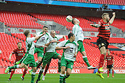 Ferriby scramble to clear the danger during the FA Carlsberg Trophy Final match between North Ferriby United and Wrexham FC at Eon Visual Media Stadium, North Ferriby, United Kingdom on 29 March 2015. Photo by Michael Hulf.