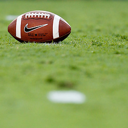 September 10, 2011; Baton Rouge, LA, USA;  A detailed view of a Nike football prior to kickoff of a game between the LSU Tigers and the Northwestern State Demons at Tiger Stadium.  Mandatory Credit: Derick E. Hingle